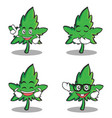 set of marijuana character cartoon vector image vector image