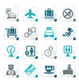 stylized airport and transportation icons vector image vector image