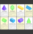 tetrahedron and octahedron geometric figures set vector image vector image