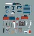 tools shop icons set in flat style vector image