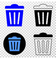 trashcan eps icon with contour version vector image
