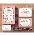 vintage floral wedding invitation set template vector image vector image