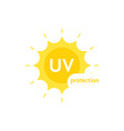 yellow uv protection logo on white vector image