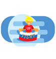 girl with russia national flag red soccer team vector image