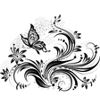 floral design element and butterfly vector image