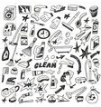 cleaning tools doodles vector image
