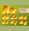 3d gold font in cartoon style comic yellow vector image vector image