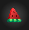 3d stylized watermelon icon on black background vector image vector image