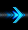 abstract blue light arrow speed on black vector image vector image