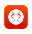 annoyed emoticon digital red vector image vector image
