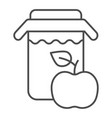 apple juice thin line icon jar of apple juice vector image vector image
