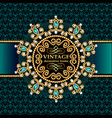 background frame with gold ornaments and precious vector image vector image