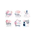 beauty salon logo or labels design set vector image