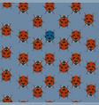 blue seamless pattern with ladybugs vector image vector image