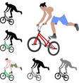 bmx stunt bicyclist silhouette and color vector image vector image