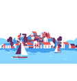boats over beach seaside island houses hotels vector image