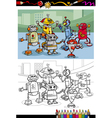 cartoon robots group coloring page vector image