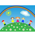 children in the meadow vector image