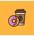 coffee and donut icon vector image vector image
