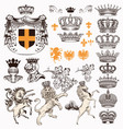collection of vintage styled heraldic objects vector image