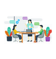 concept man and woman in work space vector image vector image