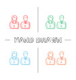 coworking hand drawn icons set vector image