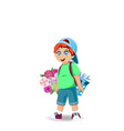 cute little boy with flowers and gift vector image
