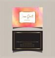 decorative watercolour business card design vector image