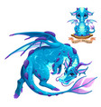 dragon water element puppy and adult vector image