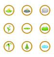 eco nature icon set cartoon style vector image