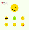 flat icon face set of cheerful delicious food vector image vector image