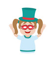 funny carniva girl with hat and mask vector image