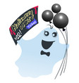 funny ghost with black balloons holds ticket for vector image vector image