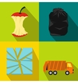 Garbage banners set flat style vector image vector image