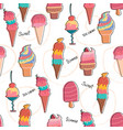 hand drawn pastel ice cream pattern seamless vector image