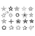 hand drawn stars sketch star shapes black vector image vector image