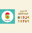 happy birthday age number card template set vector image vector image