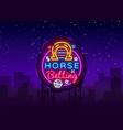 horse betting logo in neon style betting vector image