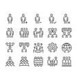 human resource and business people line icon set vector image