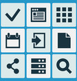 interface icons set with calendar browser log in vector image