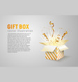 isolated open box with gold ribbons and confetti vector image