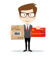 man holding plastic credit card and cardboard box vector image vector image