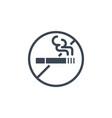 no smoking related glyph icon vector image vector image
