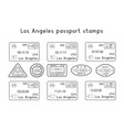 passport stamps los angeles usa arrival and vector image vector image
