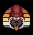 pug dog retro vector image vector image