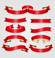 red cute ribbons set vector image vector image