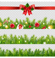 red ribbon with holly berry and firtree border vector image