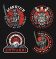 samurai vintage labels set vector image