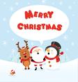 santa snowman and reindeer celebrating christmas vector image vector image