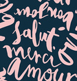 Seamless French inscriptions Love thank you hello vector image vector image
